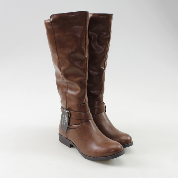 52a13e6a871 Style   Co Madixe Cognac Faux Leather Riding Boots